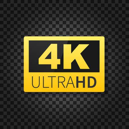 4K Ultra HD label. High technology. LED television display. Vector stock illustration. Vektoros illusztráció