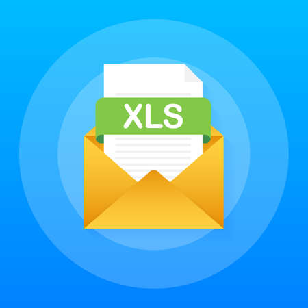 Download XLS button. Downloading document concept. File with XLS label and down arrow sign. Vector stock illustration.