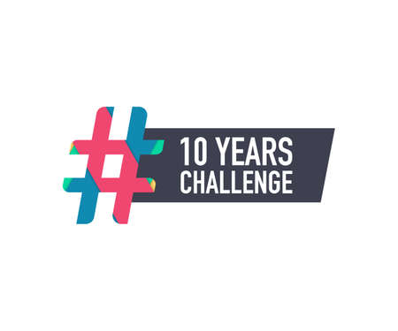 Template with hashtag 10 years challenge concept. Lifestyle before and after ten years. Vector stock illustration. 일러스트