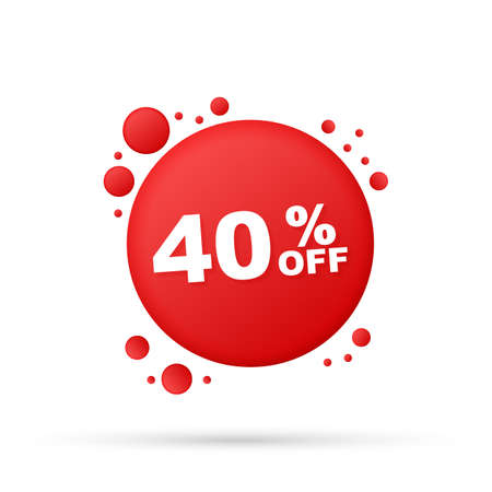 40 percent  OFF Sale Discount Banner. Discount offer price tag. 40 percent discount promotion flat icon with long shadow. Vector stock illustration.