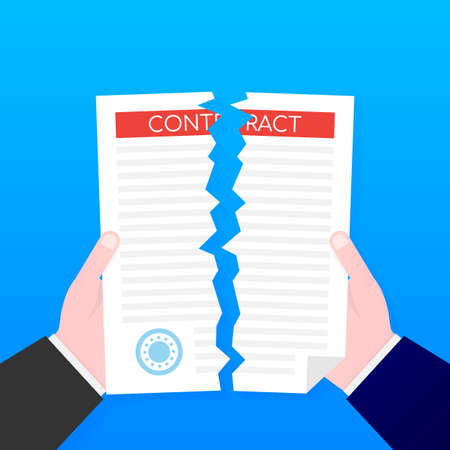 Businessman hands tearing apart contract document. Vector stock illustration.  イラスト・ベクター素材