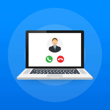 Incoming video call on laptop. Laptop with incoming call, man profile picture and accept decline buttons. Vector stock illustration.
