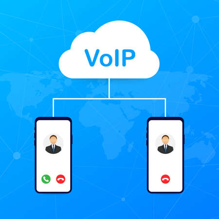 VoIP technology, voice over IP. Internet calling banner. Vector stock illustration.