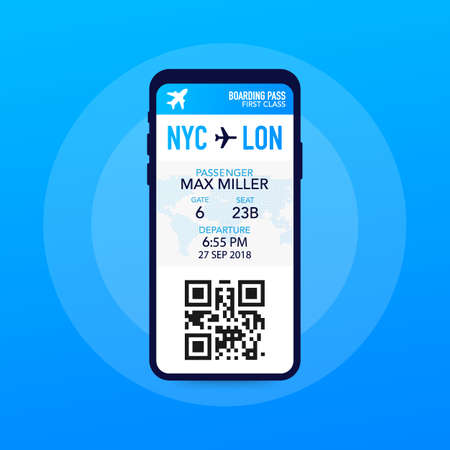 Tickets for the plane on a smartphone. Vector stock illustration. Иллюстрация
