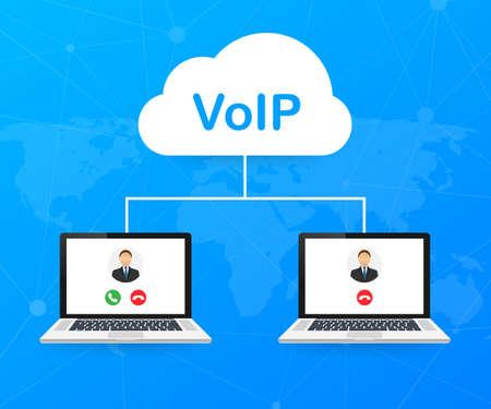 VoIP-Technologie, Voice over IP. Banner für Internetanrufe. Vektorgrafik auf Lager.