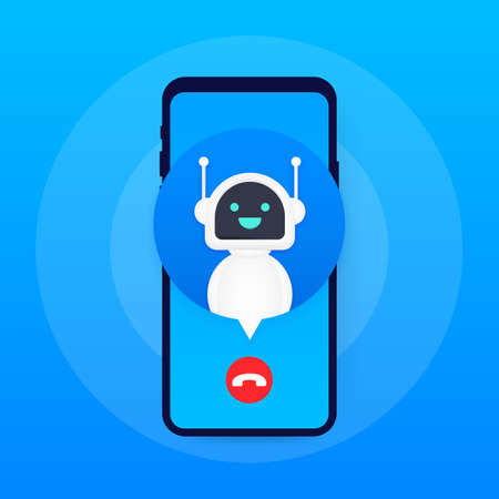Bot calling to user. Smiling customer service robot. Vector stock illustration.