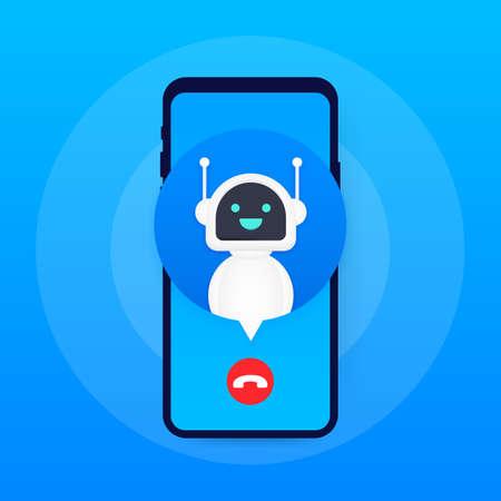 Bot llamando al usuario. Robot de servicio al cliente sonriente. Ilustración de stock vectorial.
