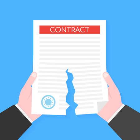 Businessman hands tearing apart contract document. Vector stock illustration. Illustration