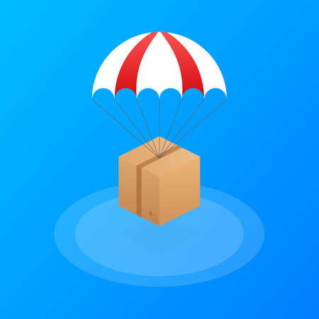 Web banner for Delivery Services and E-Commerce. Packages are flying on parachutes. Vector stock illustration. Illustration