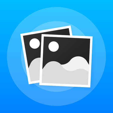 Photo icons, photo frames, retro photos flat icon, vintage blank photo frames. Vector stock illustration.