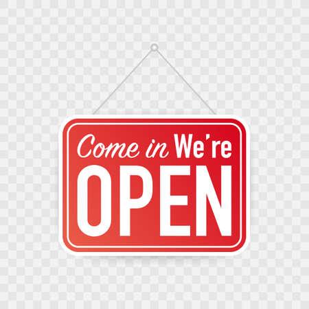 Kom binnen, we zijn open hangend bord op een witte achtergrond. Teken voor deur. Vector voorraad illustratie. Vector Illustratie