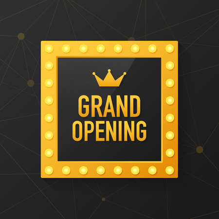 Grand opening sparkling banner. Template design element with golden sign for new store opening ceremony. Vector stock illustration. Illustration