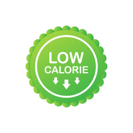 Low calorie label or sticker on white background. Vector stock illustration. Иллюстрация