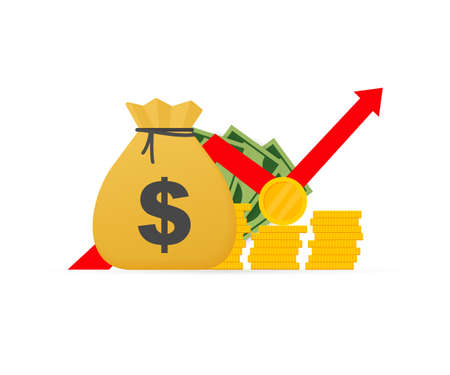 Profit money or budget. Pile of paper cash and rising graph arrow up, concept of business success. Vector stock illustration.