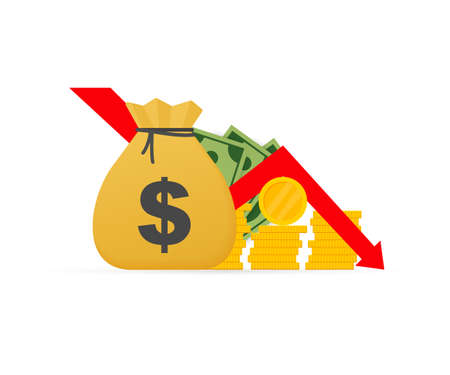 Money loss. Cash with down arrow stocks graph, concept of financial crisis, market fall. Vector stock illustration.