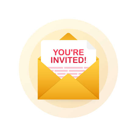 Youre invited! Badge icon. Written Inside An Envelope Letter. Vector stock illustration. Illustration
