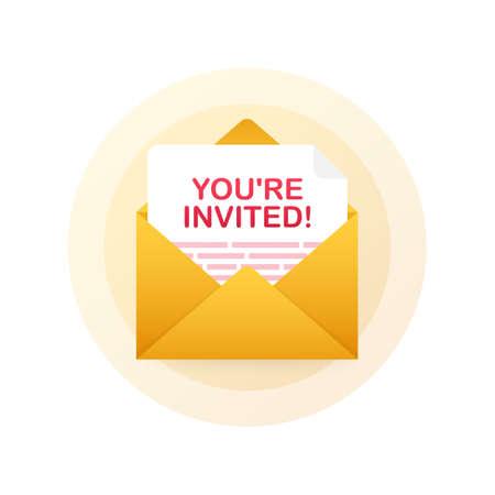 Youre invited! Badge icon. Written Inside An Envelope Letter. Vector stock illustration. Çizim