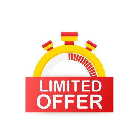 Limited Offer Labels. Alarm clock countdown. Limited time offer badge. Vector stock illustration. Vektoros illusztráció