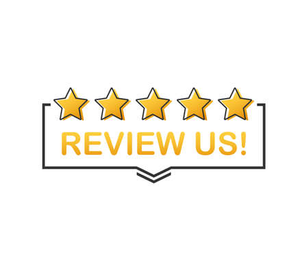 Review us! User rating concept. Review and rate us stars. Business concept. Vector stock illustration.
