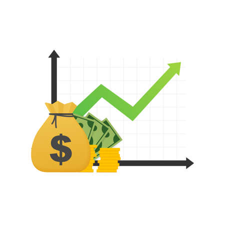 Profitieren Sie von Geld oder Budget. Bargeld und steigender Diagrammpfeil nach oben, Konzept des Geschäftserfolgs. Kapitalertrag, Nutzen. Vektorgrafik auf Lager.