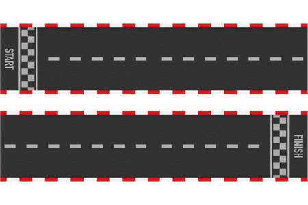 Rally races line track or road marking. Car or karting road racing vector background. Vector stock illustration. 矢量图像