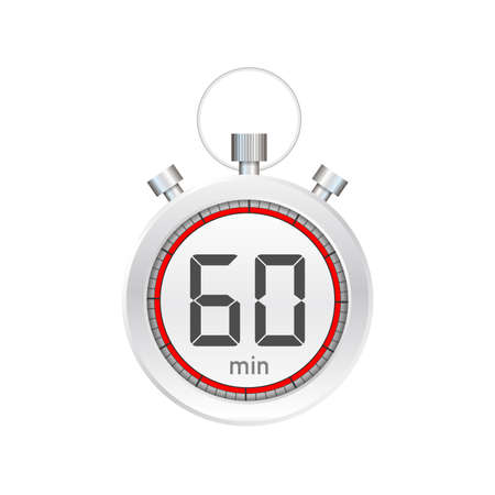 The 60 minutes, stopwatch vector icon. Stopwatch icon in flat style, timer on on color background.  Vector stock illustration.