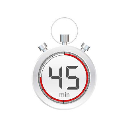 Los 45 minutos, icono de vector de cronómetro. Icono de cronómetro en estilo plano, temporizador sobre fondo de color. Ilustración de stock vectorial. Ilustración de vector