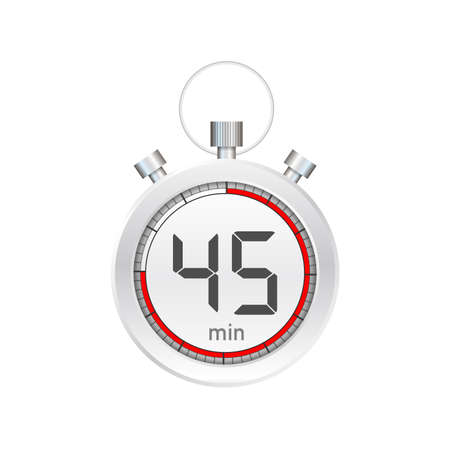 The 45 minutes, stopwatch vector icon. Stopwatch icon in flat style, timer on on color background.  Vector stock illustration. Ilustração