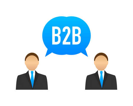 B2B sales person selling products. Business-to-business sales, B2B sales method. Vector stock illustration.
