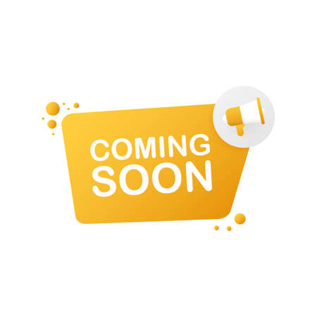 Megaphone Hand, business concept with text coming soon. Vector stock illustration