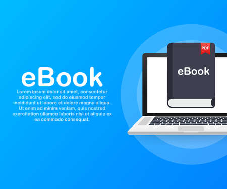 Download book. E-book marketing, content marketing, ebook download on laptop. Vector stock illustration.