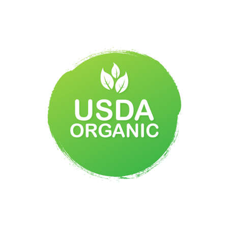 USDA organic emblems, badge, Sticker, logo, icon. Vector stock illustration.