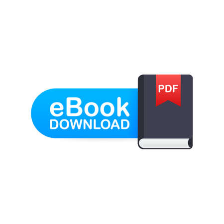 Download book. E-book marketing, content marketing, ebook download. Vector stock illustration.