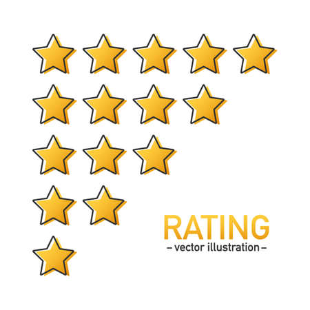 5 star rating icon vector. Isolated badge for website or app. Stars customer product rating review. Vector stock illustration Reklamní fotografie - 120802794