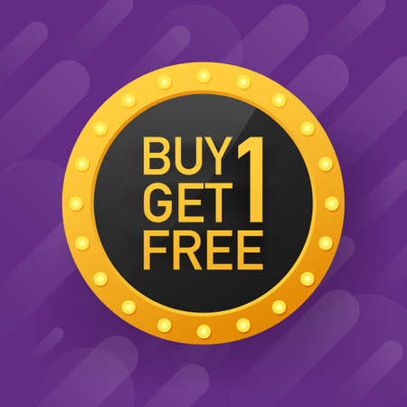 Buy 1 Get 1 Free, sale tag, banner design template. Vector stock illustration.