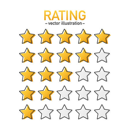 5 star rating icon vector. Isolated badge for website or app. Stars customer product rating review. Vector stock illustration Ilustração
