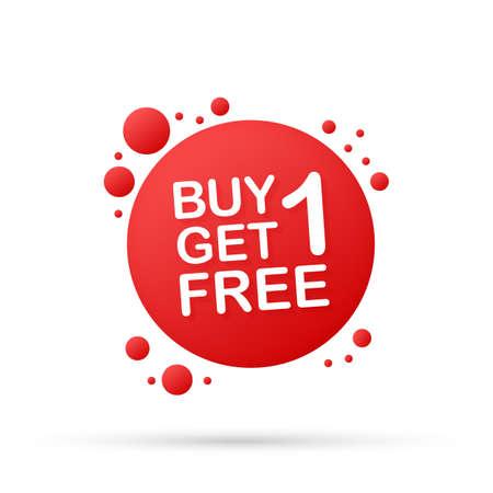 Acquista 1 prendi 1 gratis, tag di vendita, modello di progettazione banner. Illustrazione di riserva di vettore. Vettoriali