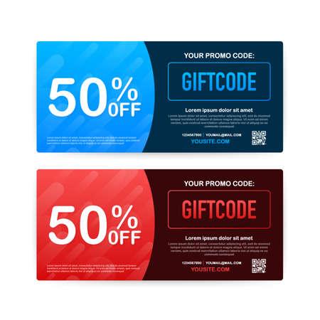 Codice promozionale. Buono regalo vettoriale con codice coupon. Sfondo carta regalo elettronica premium per e-commerce, shopping online. Marketing. Illustrazione di riserva di vettore.
