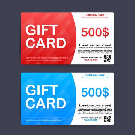 Plantilla de tarjeta de regalo roja y azul. Bono de 500 dólares. Ilustración de stock vectorial.