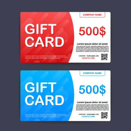 Template red and blue gift card. 500 dollars voucher. Vector stock illustration.
