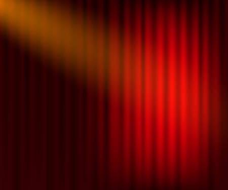 Fondo de cortinas de entretenimiento para películas. Hermoso teatro rojo cortinas de cortina dobladas en escenario negro Ilustración de stock vectorial.