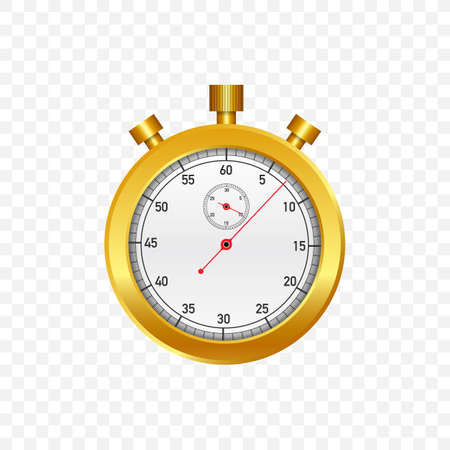 Gold Stop watch. Old mechanical stopwatch. Vector stock illustration.