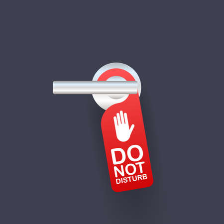 Room Service for Hotel Warning Message. Do Not Disturb Sign and Door Handle Design Concept. Vector stock illustration.