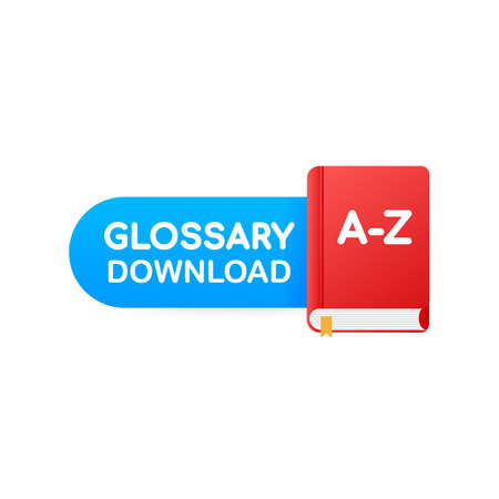 Download book button. Concept Glossary book for web page, banner, social media. Vector stock illustration Imagens - 121024747