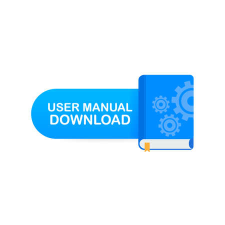 Download book button. Concept User manual book for web page, banner, social media. Vector stock illustration