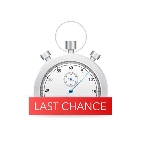 last chance and last minute offer with clock signs banners, business commerce shopping concept. Vector stock illustration.