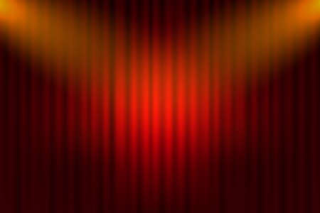 Entertainment curtains background for movies. Beautiful red theatre folded curtain drapes on black stage. Vector stock illustration.