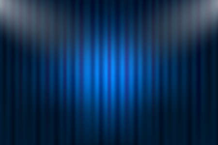 Entertainment curtains background for movies. Beautiful blue theatre folded curtain drapes on black stage. Vector stock illustration. Ilustrace