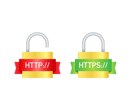 http and https protocols on shield, on white background. Vector stock illustration
