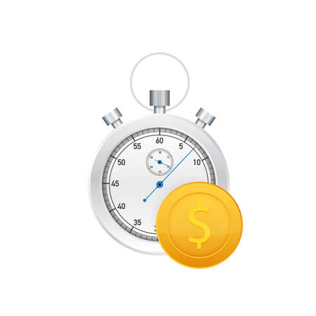 Time is money concept, clock and coin, long term financial investment. Vector stock illustration.